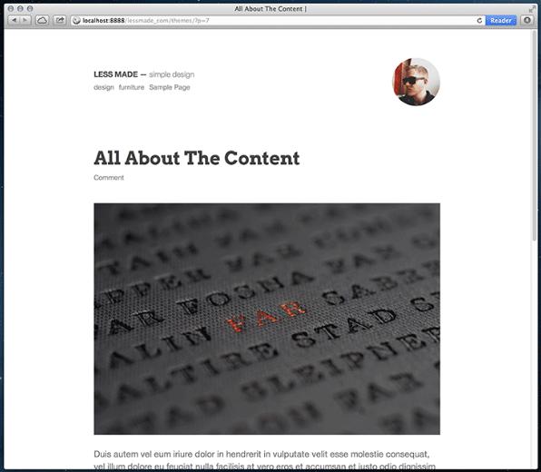 WordPress主题:Less