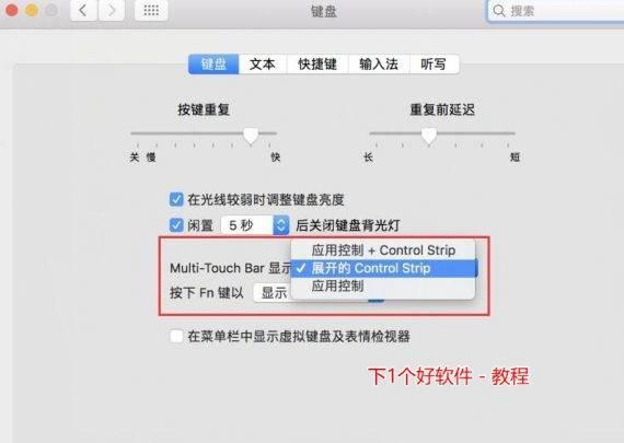 """在第一个""""Multi-Touch Bar 显示""""中选择""""展开的 Control Strip""""。"""